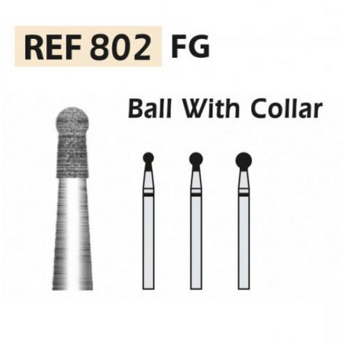802-FG DIAMOND BURS - Ball with collar X5UDS. (802-022 F RED) Img: 201811031