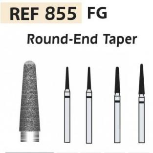 855-FG Round End Taper Diamond Burs - ISO 855-314-534-012 GREEN X5UDS. Img: 201811031