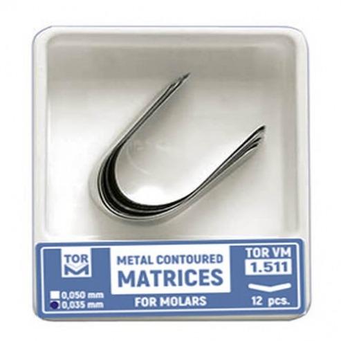 Contoured Metal Matrix for 7 mm Molar (12 pcs) - 0.035 mm. Img: 202107311