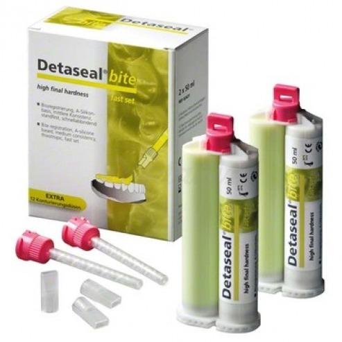 Detaseal® Bite - Material De Oclusión De Silicona (2 x 50 ml pasta base)-2 x 50 ml, 8 puntas de mezcla de color rosa, 8 boquillas de contorno Img: 202001041