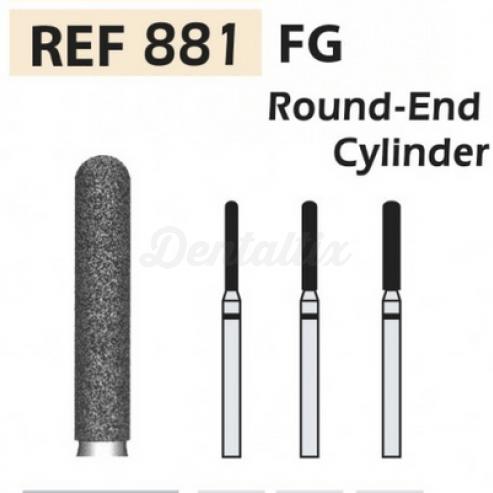 Fresas diamante 881-FG Cilindro punta redondeada F.G. turbina  (5u.) (881-012 SC NEGRO) Img: 201807031