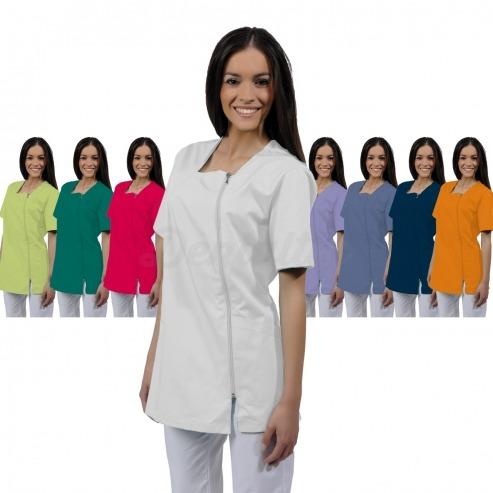 Casaca mujer ATENA de manga corta y algodón (1u.) - Color Blanco - talla XS Img: 201807031
