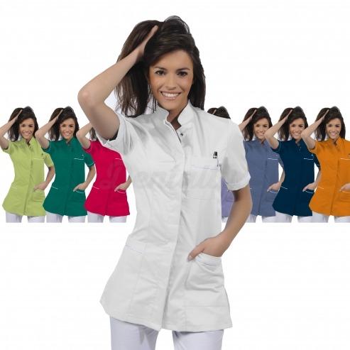 Casaca mujer GEA de manga corta y algodón (1u.) - Color Blanco - talla XS Img: 201807031