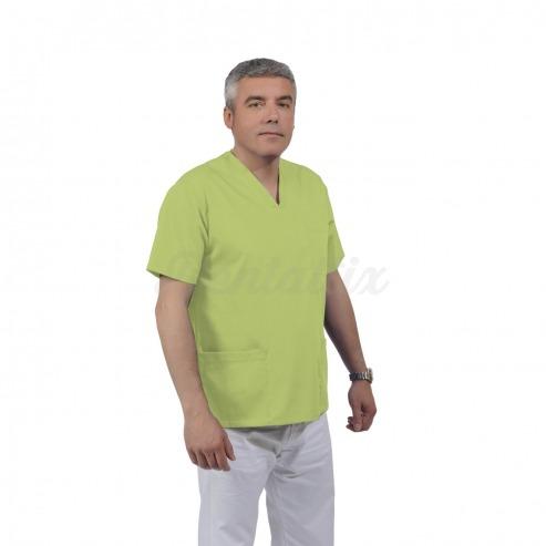 Casaca unisex ULISSE de manga corta y algodón (1u.) - Color Verde manzana - talla L Img: 201807031