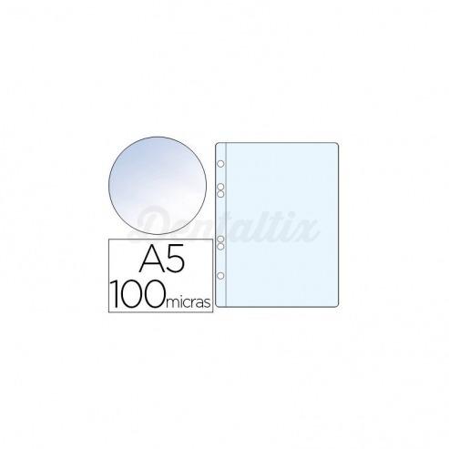 Funda multitaladro plastico Q-Connect Din A5 100 micras cristal Img: 201807281