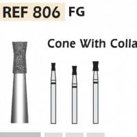 Fresas diamante 806 Cono invertido con cuello F.G. turbina (5u.) (806-012 F ROJO) Img: 201807031