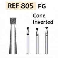 Fresas diamante 805 Cono invertido F.G. turbina (5u.) (805-012 F ROJO) Img: 201807031
