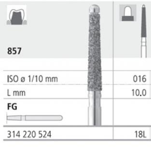Fresa 857 Siluro punta inattiva diamante FG (6u) Img: 201809011