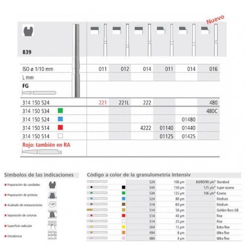 Frese diamantate 839 Cilindro end-coated only FG (18u). 012 SOTTILE Img: 201809011