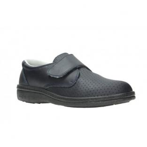 Scarpa In Pelle Con Velcro Blu Marino - 35 Img: 202002291