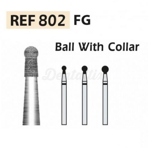 Fresas diamante 802-FG Bola con cuello F.G. turbina (5u.) (802-022 F ROJO) Img: 201807031