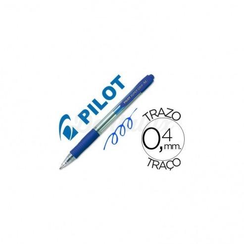 Boligrafo Pilot Super Grip azul. Retractil. Trazo de 0.4 mm. Img: 201807281